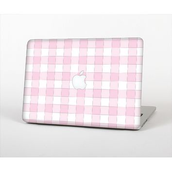 The Light Pink and White Plaid Pattern Skin Set for the Apple MacBook Air 13""