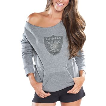 Cuce Fleece Oakland Raiders Ladies Crystal Side-liner Sweatshirt - Gray