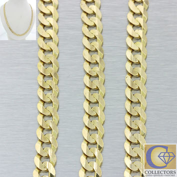 "Italy 14k Solid Yellow Gold 7mm Cuban Curb 20"" Chain Necklace 33.1g"