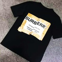 Burberry 2019 new misplaced letter printed round neck half-sleeved T-shirt