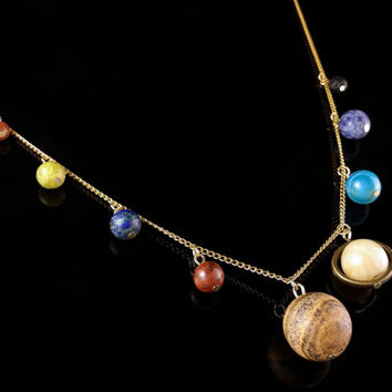 Gold Solar System Necklace and Asteroid Earrings  - Space Jewelry