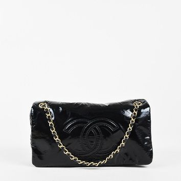 "Chanel Black Patent Quilted Trim ""Rock and Chain"" Medium 'CC' Flap Bag"