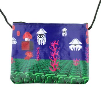 Nintendo Super Mario Underwater Blooper 8-Bit Print Rectangular Shaped Cross Body Bag