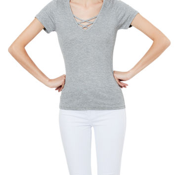 LE3NO Womens Lightweight Ribbed Slim Fit Criss Cross Short Sleeve T Shirt
