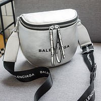 BALENCIAGA Stylish Women Cool Leather Rivets Zipper Shoulder Bag Crossbody Satchel Silvery