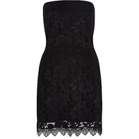 River Island Womens Black jersey lace bandeau dress