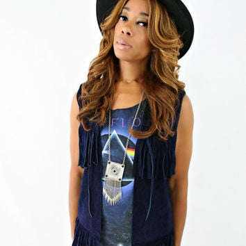 vintage 60s 70s navy BLUE suede LEATHER fringe BOHO vest