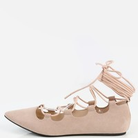 Wrap Lace Up Pointed Toe Flats