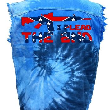 Men's Rebel Flag Sleeveless Denim Shirt I Plead The 2nd Tie Dye Vest