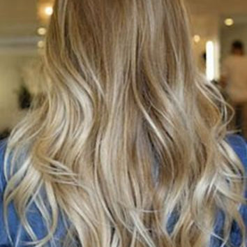 """Exclusive for Miranda / 20"""" Ash Blonde Ombre / Russian Human Hair / Body Wave Texture / 10 Piece Clip In Extensions"""