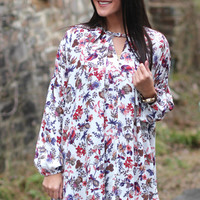 Floral Sunset Trapeze Tunic Dress {Ivory Mix}