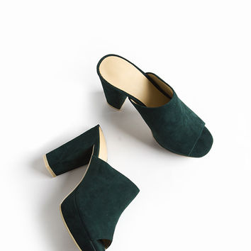 Green Suede Platforms