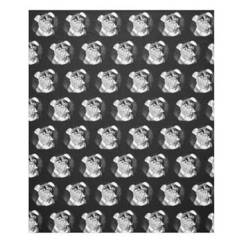 Bulldog Face White on Black Fleece Blanket