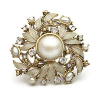 Vintage Monet Faux Pearl Enamel Rhinestone Brooch Pin 1937 - 1955 Early Signed Monet Ornate Gold Tone Pearl Cabochon Clear Rhinestones