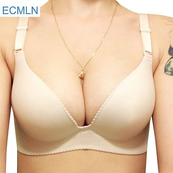 Sexy Women Bra Adjustable Brassiere Seamless Lingerie Super Push Up Bra 6 Color Plus Size C Cup Strappy Bras For Women