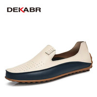 DEKABR Brand Summer Causal Shoes Men Loafers Genuine Leather Moccasins Men Driving Shoes Flat