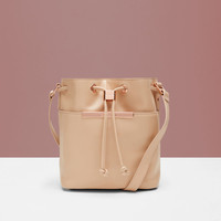 Crosshatch leather mini bucket bag - Taupe | Bags | Ted Baker