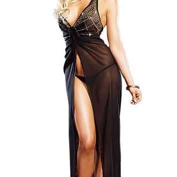 Nightgown - Mystic Gold Studded Black Sheer Chiffon (Small-4X)