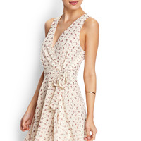 FOREVER 21 Subtle Floral Wrap Dress Cream/Red Small