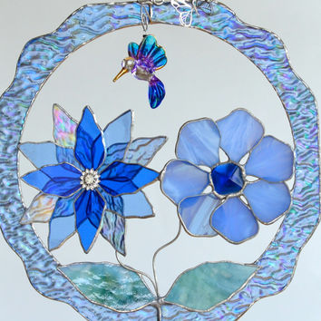 Stained Glass Panel Flowers and Hummingbird