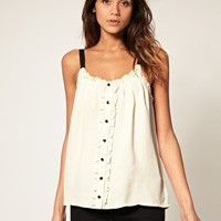 ASOS | ASOS Cami With Ruffle And Button Front at ASOS
