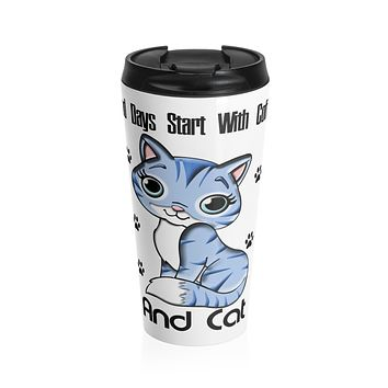 Good Days Start With Coffee And Cat Travel Insulated Tumbler Mug - 15oz