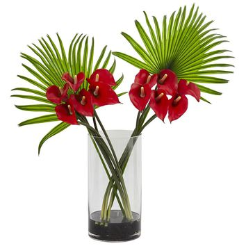 Silk Flowers -Red Calla Lily And Fan Palm Arrangement In Cylinder Glass