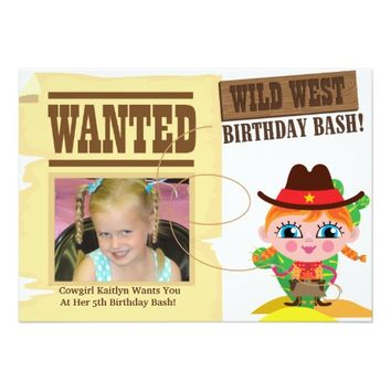 Girls Wild West Western Cowgirl Birthday Invite