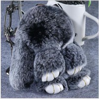 18 cm High Bunny Key Chain Rex Rabbit Keychain Real Fluffy Pompom Fur Bag Accessory For Her Gift Rabbit Doll