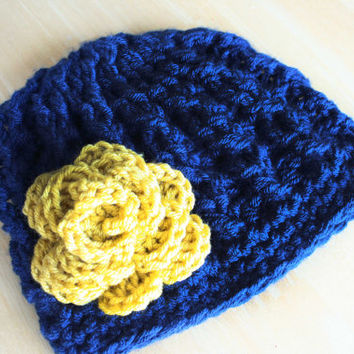 Crochet Cable Knit hat for girls and teens, navy blue and mustard yellow, soft cabled hat, chemo cap, Notre Dame colors, 5t-Preteen sizes
