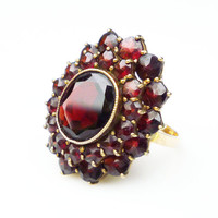 10K Gold Ring Bohemian Garnet Rose Cut Victorian Gold Filled Antique Jewelry