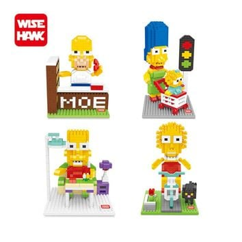 WiseHawk Nanoblocks Simpsons Family DIY Cartoon Model Homer Marge Bart Lisa Scenes Action Figure Micro Brick Child Intellect Toy