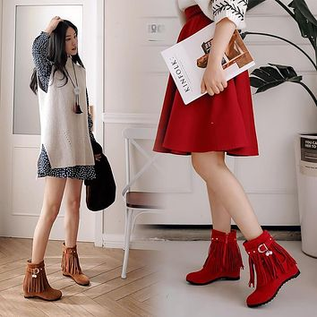Winter Suede Flat Fringe Buckle Calf Boots