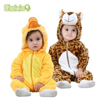 Soft Flannel Animal Baby Rompers Kawaii Warm Boy Girl Toddler Hooded Kids Jumpsuit Infants Newborn Romper Baby Clothes