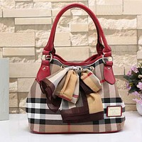 Burberry Women Leather Shoulder Bag Tote Handbag Satchel