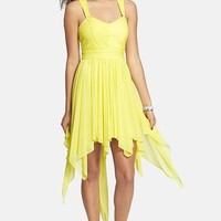 Hailey Logan Asymmetrical Ruched Mesh Dress (Juniors) (Online Only)