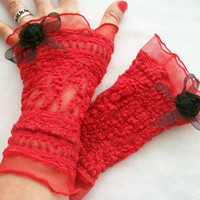 Red lace gloves, Red mittens, Sexy lace gloves, Transparent red gloves, Red gloves, Striking red gloves, Red gloves and Black flowers