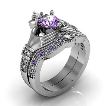 Claddagh Ring -  Amethyst Sterling Silver Love and Friendship Engagement Ring Set