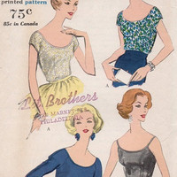 1950s Vogue Sewing Pattern Fitted Blouse Deep Scoop Neck Top Elbow Sleeves Shoulder Straps Swing Shirt Bust 34