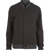 River Island MensDark grey contrast trim quilted jacket