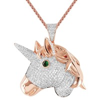 Unicorn Head Emerald Eye Iced Out 14k Rose Gold Finish Pendant