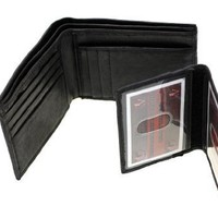 Paul & Taylor Genuine Leather Mens Bifold Wallet With A Removable ID Cover Black