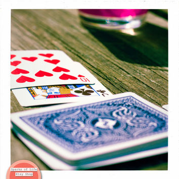 Square printable photography, summer digital download, deck of cards, fine art, hearts, vintage wall art home decor for game room, play room