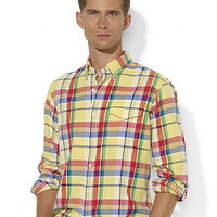 Polo Ralph Lauren Shirt, Custom-Fit Plaid Cotton Twill Bleecker Shirt - Mens Shirts - Macy's