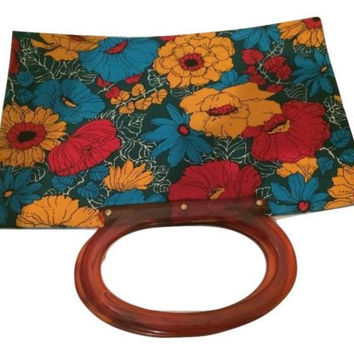 Floral Vintage Tote Bag Retro Red Blue Yellow Plastic Root-beer Handle