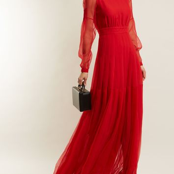 High-neck pleated-skirt silk gown | Rochas | MATCHESFASHION.COM US