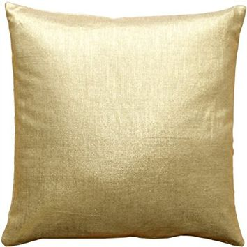 Pillow Decor - Tuscany Linen Gold Metallic 16x16 Throw Pillow