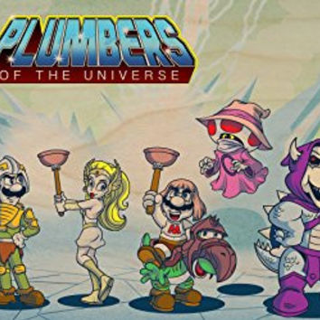 'Plumbers of the Universe' Funny Video Game & Cartoon Parody - Plywood Wood Print Poster Wall Art