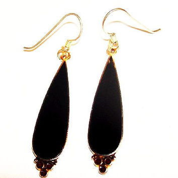 "Laurel Burch Dangle Earrings Black & Red Enamel Gold French Wire Hooks 2 1/4"" Vintage"