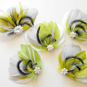 Bridesmaid Bridal Feather Hair Accessory Set, Feather Fascinator, Peacock, Grey, Chautrese Green, White, Black, Feather, Hair Clip